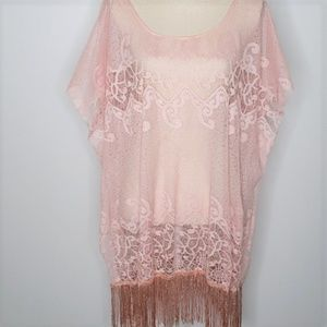 Arianna by Howard's pink lace cover up with fringe